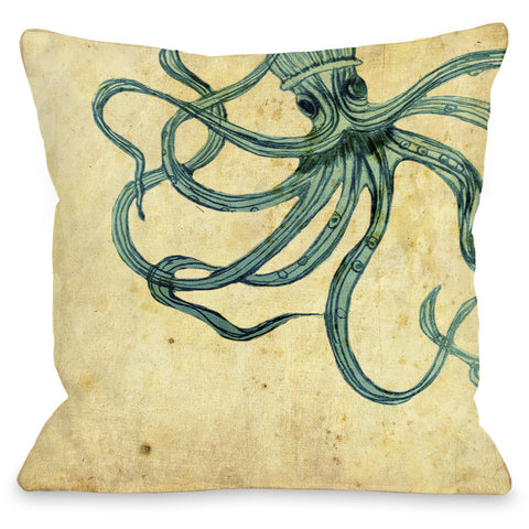 """Octopus"" Outdoor Throw Pillow by OneBellaCasa, 16""x16"""