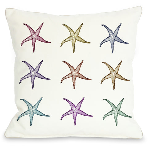 """Starfish Pattern"" Outdoor Throw Pillow by OneBellaCasa, 16""x16"""