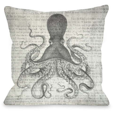 """Vintage Octopus"" Outdoor Throw Pillow by OneBellaCasa, 16""x16"""