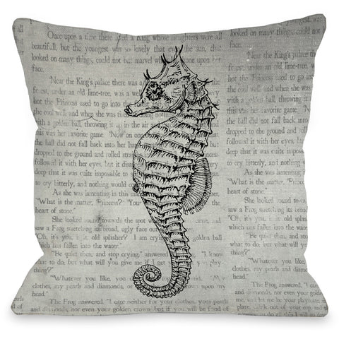 """Vintage Seahorse"" Indoor Throw Pillow by OneBellaCasa, 16""x16"""