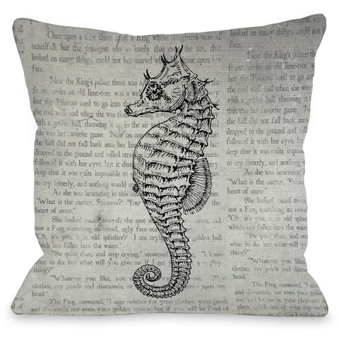 """Vintage Seahorse"" Outdoor Throw Pillow by OneBellaCasa, 16""x16"""