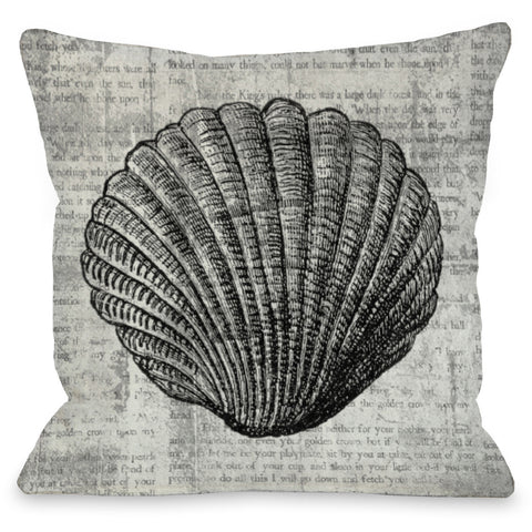 """Vintage Seashell"" Outdoor Throw Pillow by OneBellaCasa, 16""x16"""
