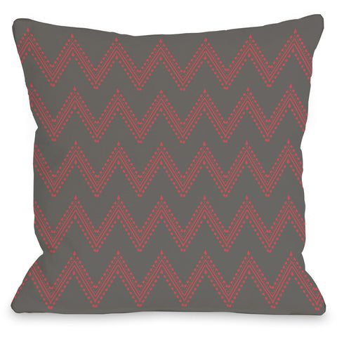 """Athena Chevron"" Outdoor Throw Pillow by OneBellaCasa, Charcoal/Cream, 16""x16"""