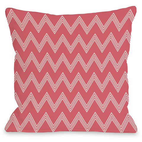 """Emily Tier Chevron"" Outdoor Throw Pillow by OneBellaCasa, Green, 16""x16"""
