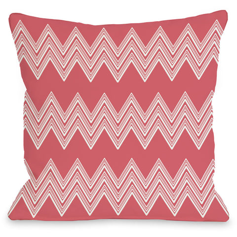 """Juniper Multi Chevron"" Outdoor Throw Pillow by OneBellaCasa, Green, 16""x16"""