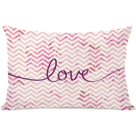 """Love Chevron"" Outdoor Throw Pillow by OneBellaCasa, 14""x20"""