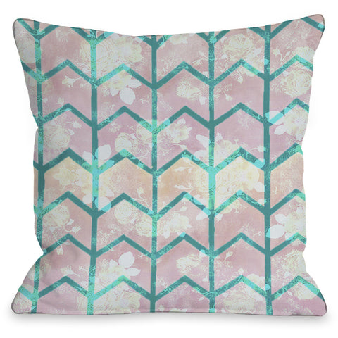 """Ombre Chevron"" Outdoor Throw Pillow by OneBellaCasa, 16""x16"""