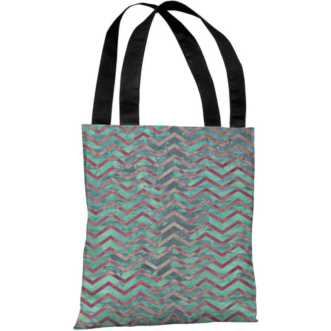 """Wave Chevron"" 18""x18"" Tote Bag by OneBellaCasa"