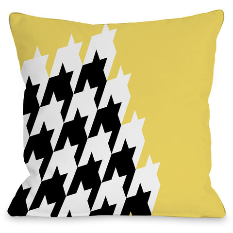 """Harry Half Houndstooth"" Outdoor Throw Pillow by OneBellaCasa, 16""x16"""