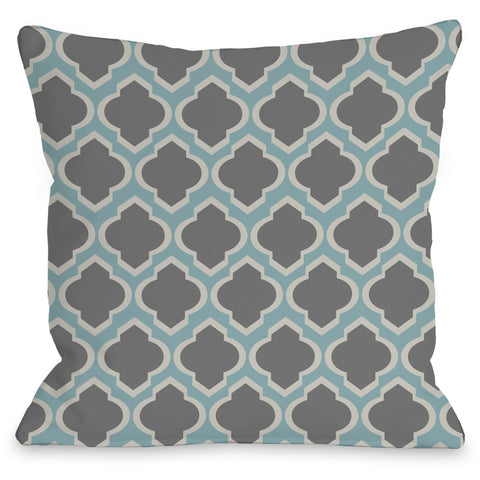 """Macy Moroccan"" Outdoor Throw Pillow by OneBellaCasa, Aqua/Light Gray, 16""x16"""