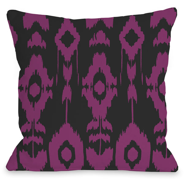 Forever Ikat Outdoor Throw Pillow By Onebellacasa Dark Gray