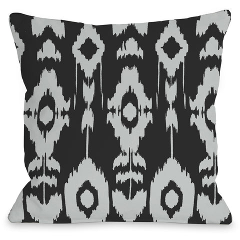 """Forever Ikat"" Outdoor Throw Pillow by OneBellaCasa, Dark Gray/Fuchsia, 16""x16"""