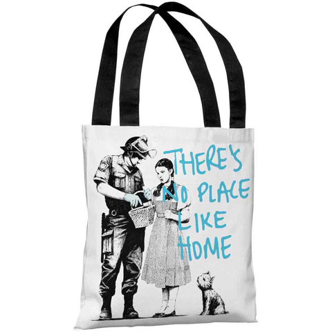 """Dorothy No Place Like Home Graffiti"" 18""x18"" Tote Bag by Banksy"