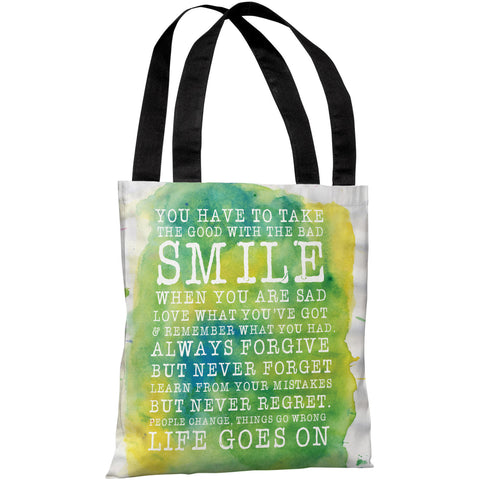 """Smile Life Goes On"" 18""x18"" Tote Bag by OneBellaCasa"