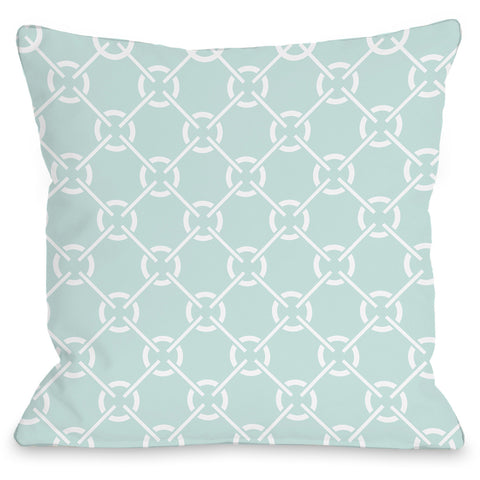 """Cecile's Circles"" Outdoor Throw Pillow by OneBellaCasa, Fair Aqua, 16""x16"""
