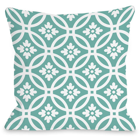 """Meredith Circles"" Outdoor Throw Pillow by OneBellaCasa, December Gray, 16""x16"""