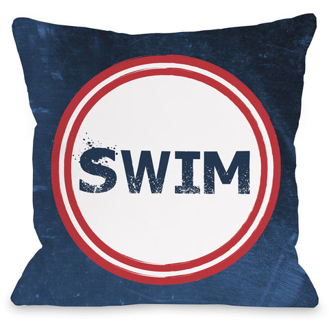 """Swim"" Indoor Throw Pillow by OneBellaCasa, 16""x16"""
