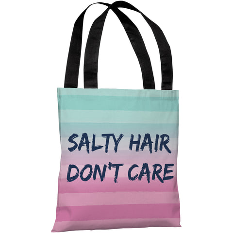 """Salty Hair, Don't Care"" 18""x18"" Tote Bag by OneBellaCasa"