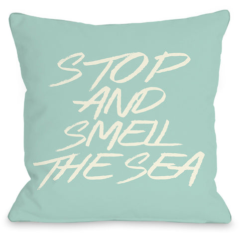 """Stop And Smell The Sea"" Indoor Throw Pillow by OneBellaCasa, 16""x16"""