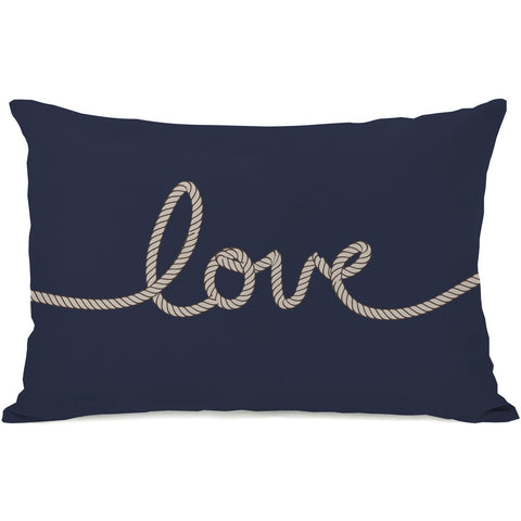 """Love Rope"" Outdoor Throw Pillow by OneBellaCasa, Red/Tan, 14""x20"""