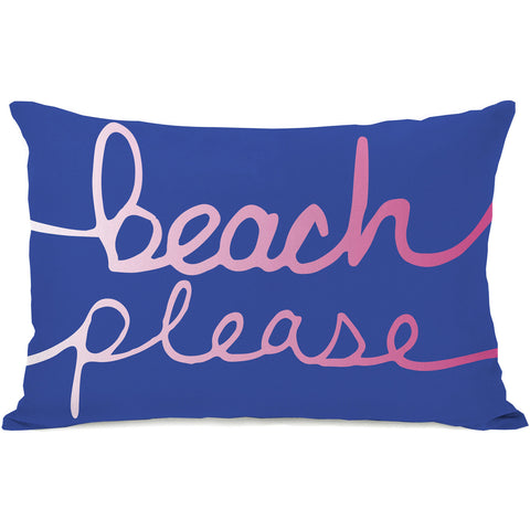 """Beach Please"" Outdoor Throw Pillow by OneBellaCasa, Sand Brown, 14""x20"""