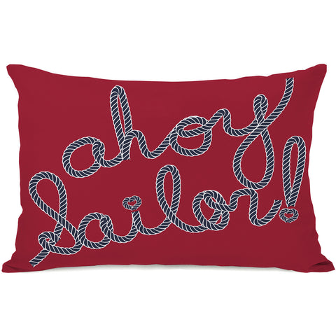 """Ahoy Sailor Rope"" Indoor Throw Pillow by OneBellaCasa, Red/Blue, 14""x20"""