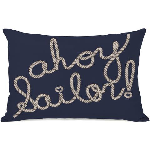 """Ahoy Sailor Rope"" Outdoor Throw Pillow by OneBellaCasa, Red/Blue, 14""x20"""