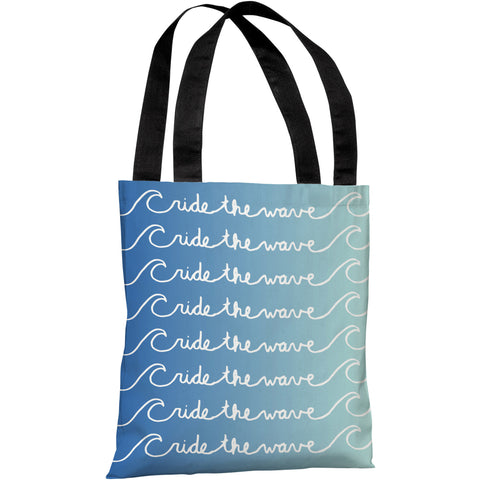"""Ride The Wave"" 18""x18"" Tote Bag by OneBellaCasa"