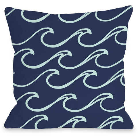 """Kayla Wave"" Outdoor Throw Pillow by OneBellaCasa, Light Blue, 16""x16"""