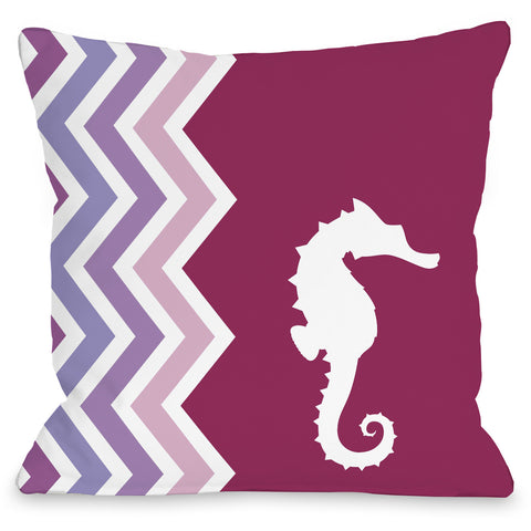 """Chevron Seahorse"" Outdoor Throw Pillow by OneBellaCasa, 16""x16"""