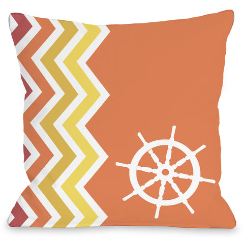 """Chevron Wheel"" Outdoor Throw Pillow by OneBellaCasa, 16""x16"""
