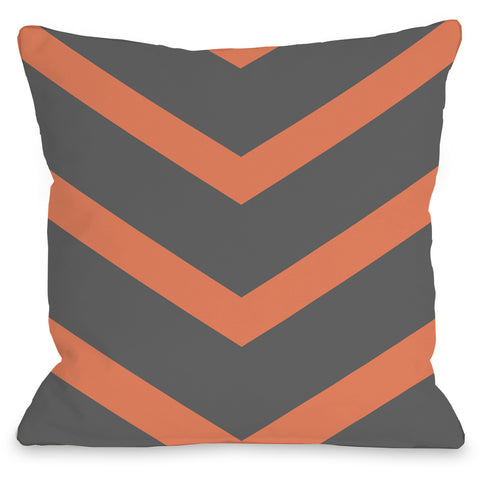 """Isabella Chevron"" Outdoor Throw Pillow by OneBellaCasa, Yellow/Gray, 16""x16"""
