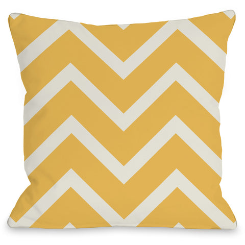 """Sophia Chevron"" Outdoor Throw Pillow by OneBellaCasa, Melon/Ivory, 16""x16"""