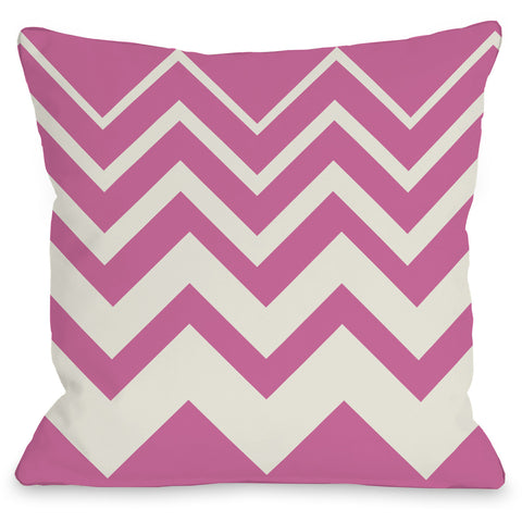 """Lisa Chevron"" Outdoor Throw Pillow by OneBellaCasa, Pink/Ivory, 16""x16"""