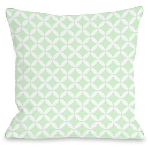"""Dahlia Moroccan"" Outdoor Throw Pillow by OneBellaCasa, Mint/White, 16""x16"""