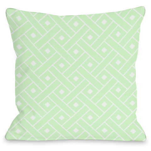 """Crosshatch"" Outdoor Throw Pillow by OneBellaCasa, Mint/White, 16""x16"""