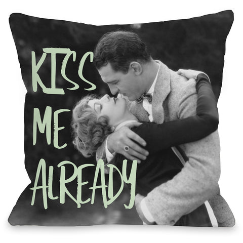 """Kiss Me Already"" Outdoor Throw Pillow by OneBellaCasa, 16""x16"""