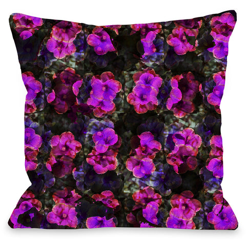 """Hibiscus Pattern"" Outdoor Throw Pillow by OneBellaCasa, 16""x16"""