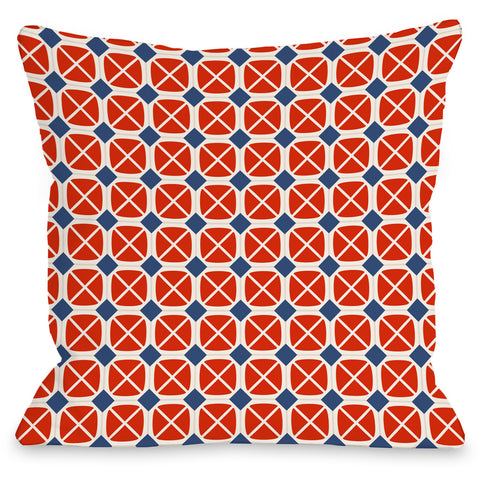 """Abegayle Geo"" Outdoor Throw Pillow by OneBellaCasa, Red/Navy, 16""x16"""