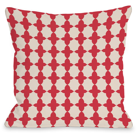 """Madison Moroccan"" Outdoor Throw Pillow by OneBellaCasa, Red, 16""x16"""