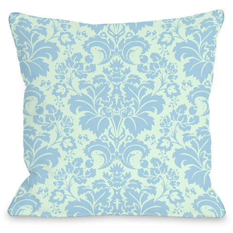"""Altair Fleur"" Outdoor Throw Pillow by OneBellaCasa, Light Green Blue, 16""x16"""