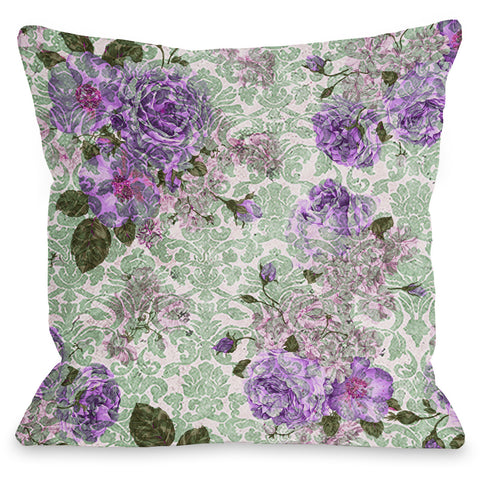 """Aria Demask Florals"" Outdoor Throw Pillow by OneBellaCasa, Blue, 16""x16"""