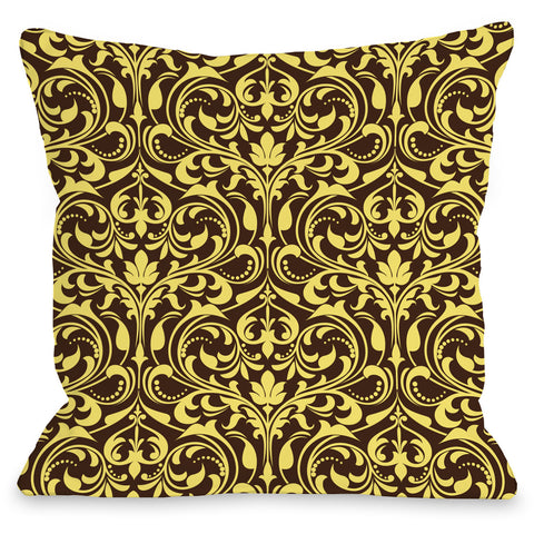 """Athena Florals"" Outdoor Throw Pillow by OneBellaCasa, Espresso/Yellow, 16""x16"""