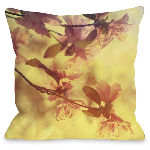 """Delicate Flower"" Outdoor Throw Pillow by OneBellaCasa, 16""x16"""