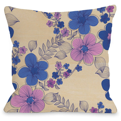 """Elegant Sweep"" Outdoor Throw Pillow by OneBellaCasa, Wood/Blue, 16""x16"""
