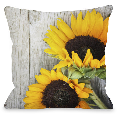 """Fresh Picked Sunflowers"" Indoor Throw Pillow by OneBellaCasa, 16""x16"""