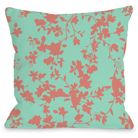 """Penelope Florals"" Indoor Throw Pillow by OneBellaCasa, Turquoise, 16""x16"""