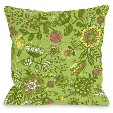 """Quirky Florals"" Outdoor Throw Pillow by OneBellaCasa, Blue, 16""x16"""