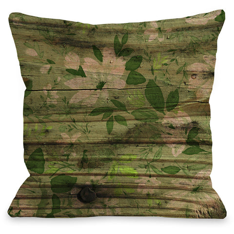 """Victoria Wood Floral"" Outdoor Throw Pillow by OneBellaCasa, Blue, 16""x16"""