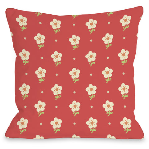 """Elana's Flowers"" Outdoor Throw Pillow by OneBellaCasa, 16""x16"""